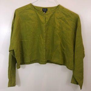 Eileen Fisher Green Linen Button Up Crop Top